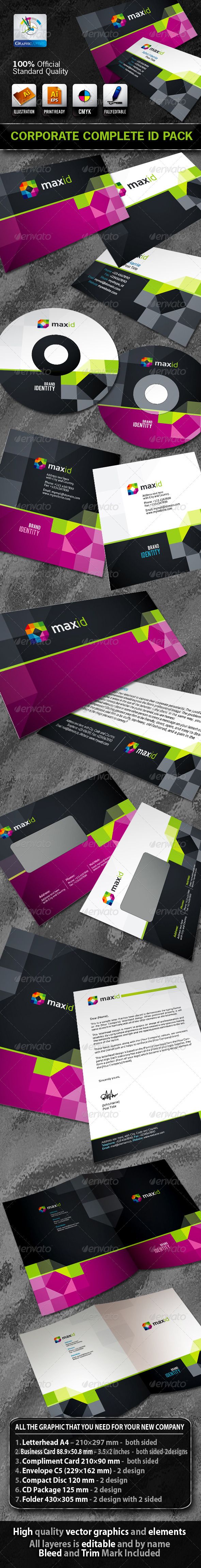 MaxId Business Corporate ID Pack + Logo - Stationery Print Templates