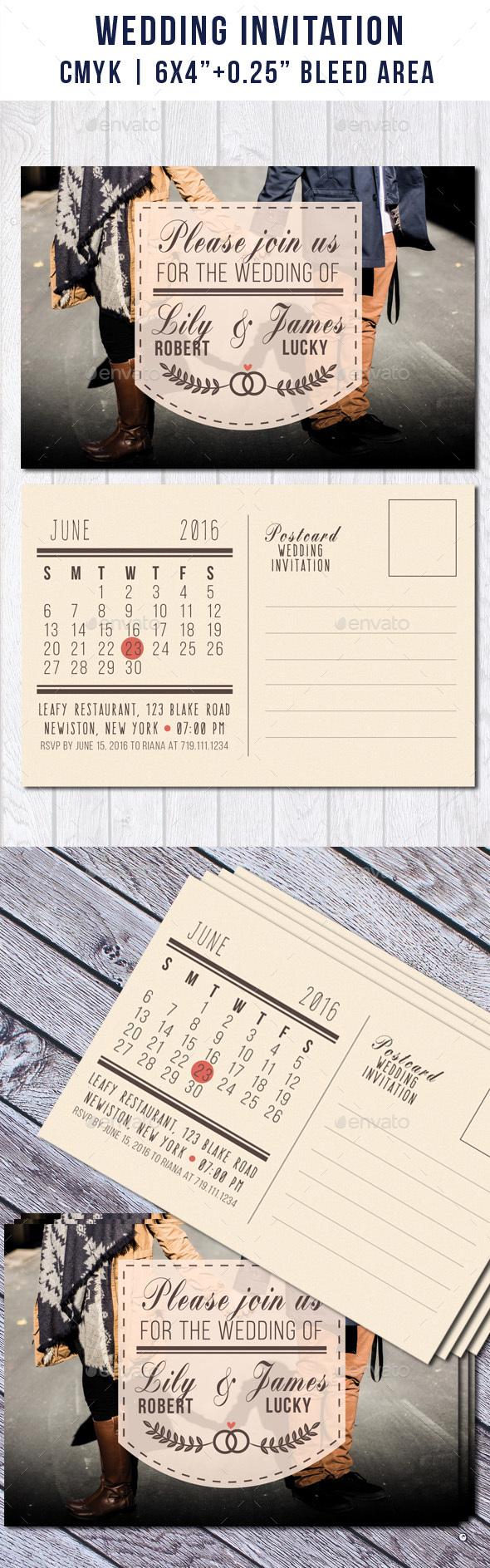 Wedding Postcard Invitation with Calendar