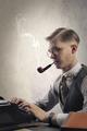 Man with typewriter