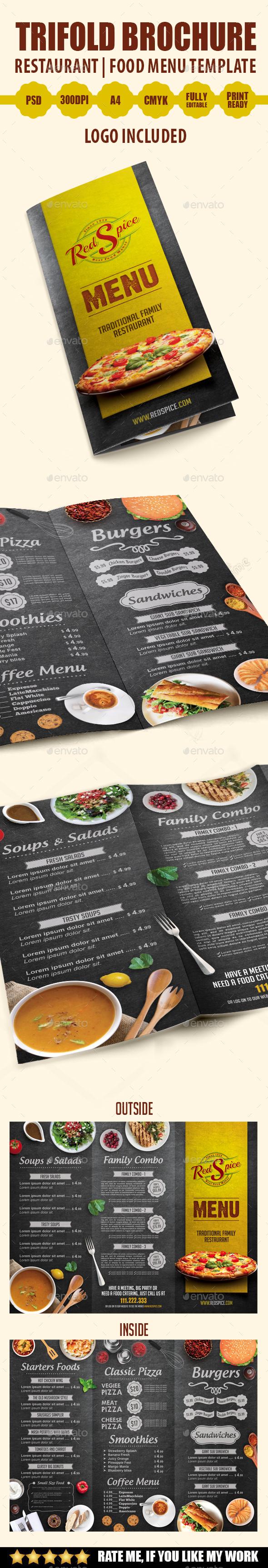 Trifold Brochure Restaurant Menu Template
