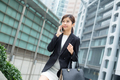 Businesswoman walking on street and talk to cellphone