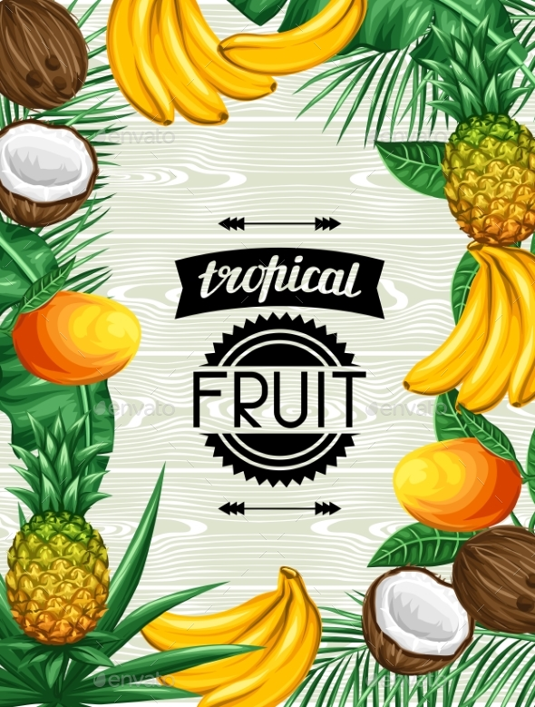 Background With Tropical Fruits And Leaves. Design