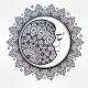 Bohemian Ornate Vector Crescent Moon.