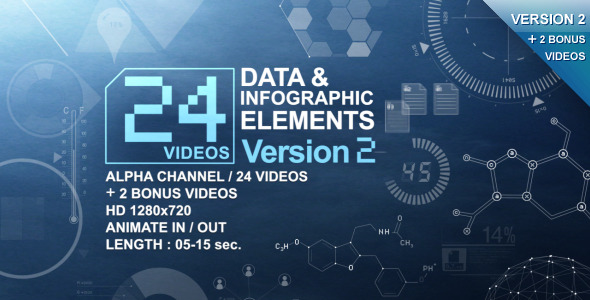 VideoHive 24 Videos Data & Infographic Elements V.2 1616081