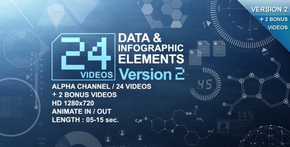 VideoHive 24 Videos Data & Infographic Elements V.2 1616081