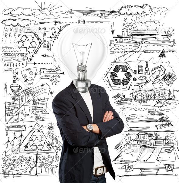 PhotoDune Lamp Head Businessman 1616161