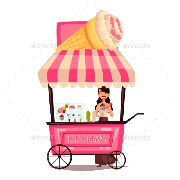 Mobile Street Seller With Ice Cream