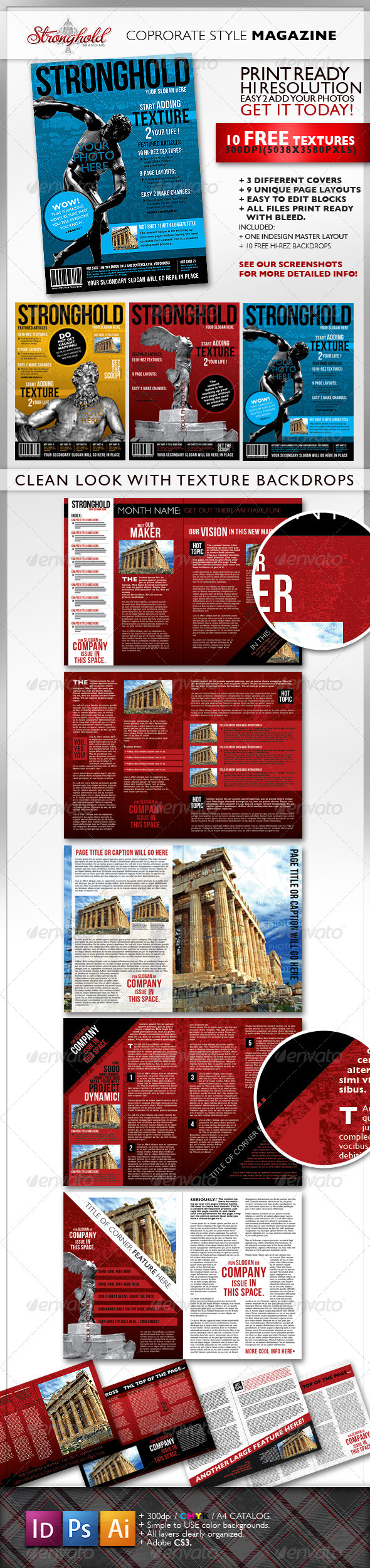 Textured Corporate Magazine Template - Magazines Print Templates
