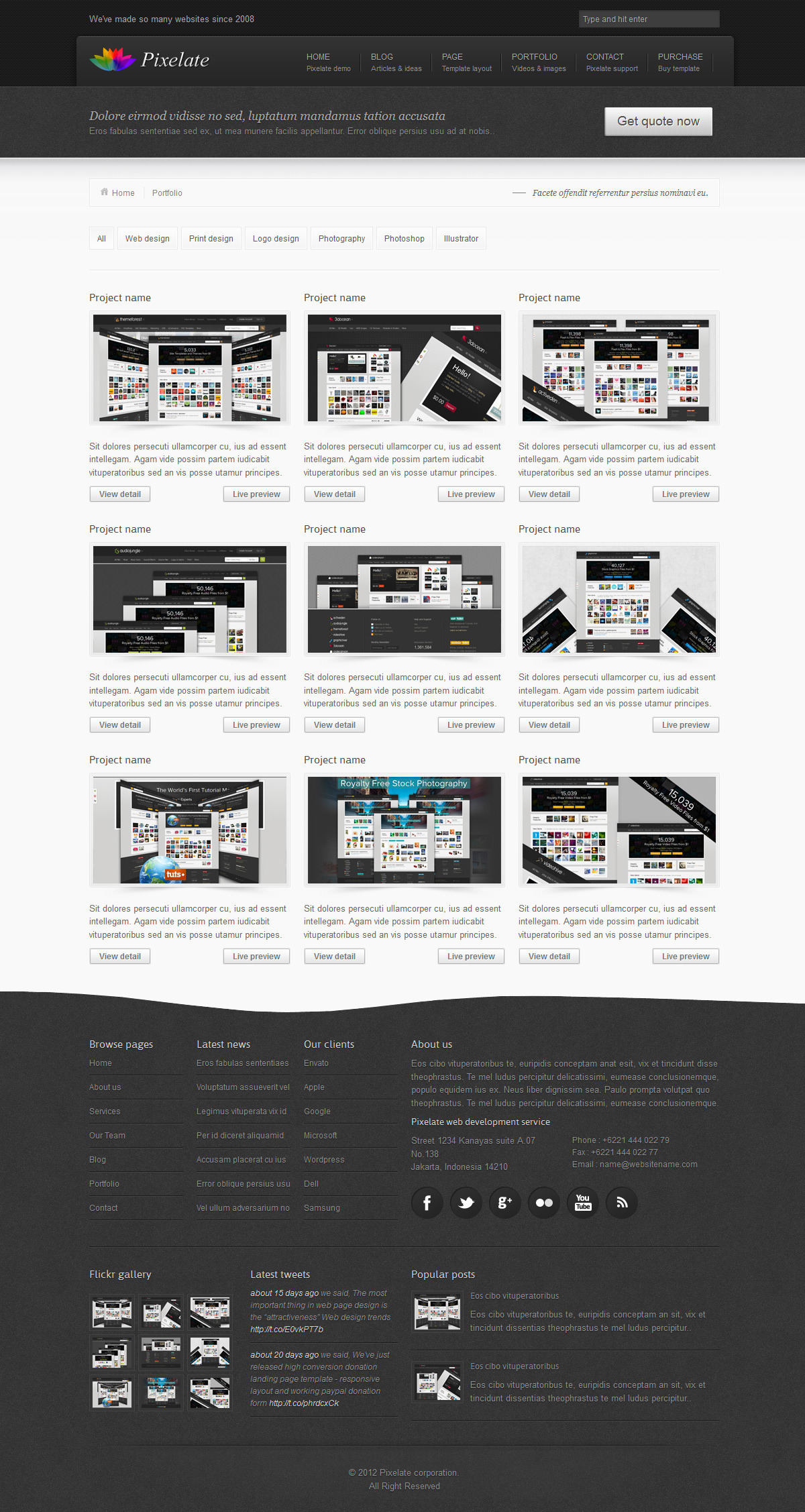 Pixelate corporate website template