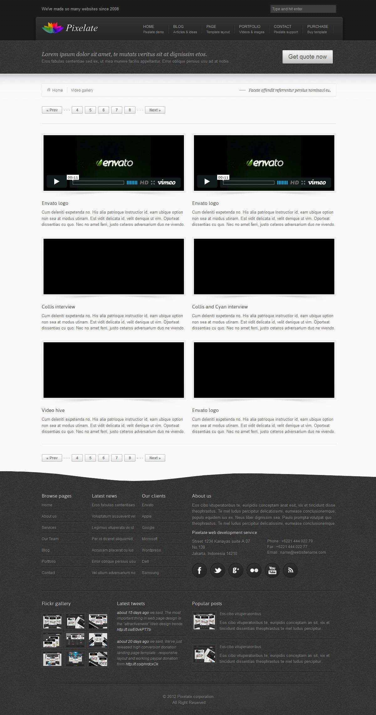 Pixelate corporate website template
