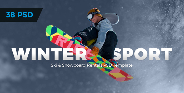 Winter Sport - Ski & Snowboard Rental PSD Template