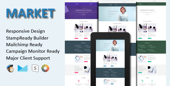 MARKET - Responsive Email Template + Stamp Ready Builder