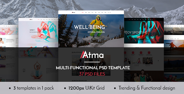 Atma — Multipurpose Wellness | Sport | Yoga PSD Template