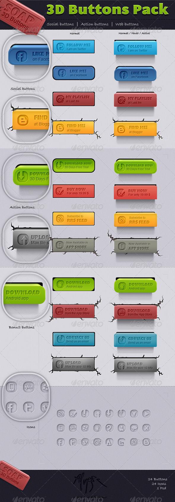 3D Buttons - Soap  - Buttons Web Elements
