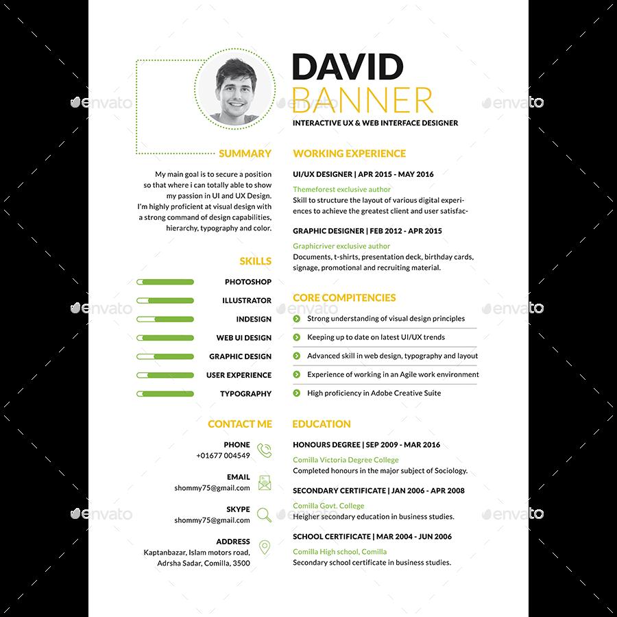 sleek resume cv by samiul75 graphicriver