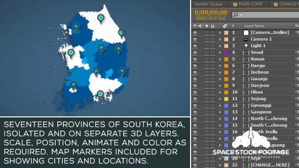 Etelä-Korea Kartta Kit - Infographics After Effects Project Files