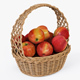 Wicker Basket 04 (Natural Color) with Apples