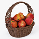 Wicker Basket 04 (Brown Color) with Apples