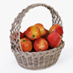 Wicker Basket 04 (Gray Color) with Apples