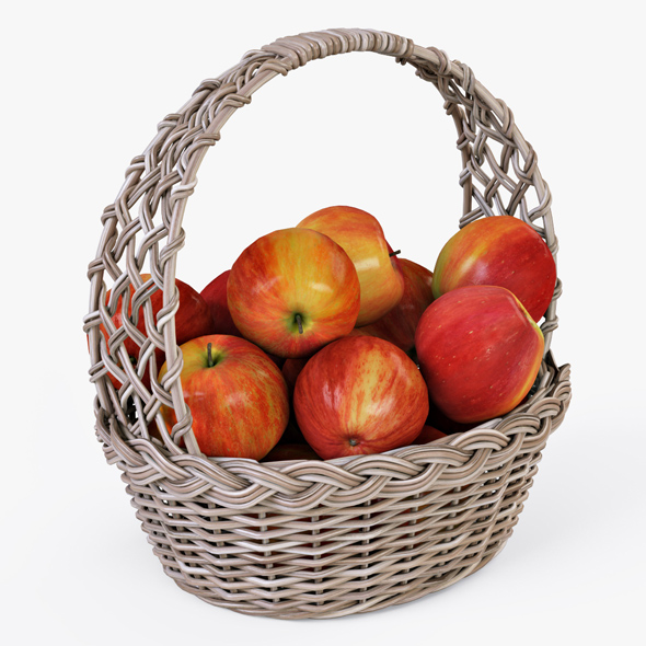 Wicker Basket 04 (Gray Color) with Apples - 3DOcean Item for Sale