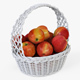 Wicker Basket 04 (White Color) with Apples