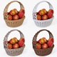 Wicker Basket 04 Set (4 Color) with Apples