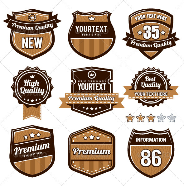 Vector set of retro badges - Vectors