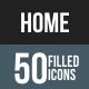 Home Flat Round Corner Icons