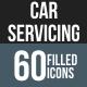 Car Servicing Flat Round Corner Icons