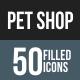 Pet Shop Flat Round Corner Icons