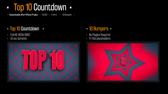 Top 10 Countdown - Muut Broadcast Paketit After Effects Project Files