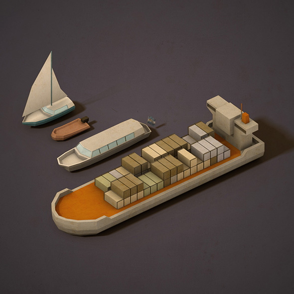 Lowpoly Boats - 3DOcean Item for Sale