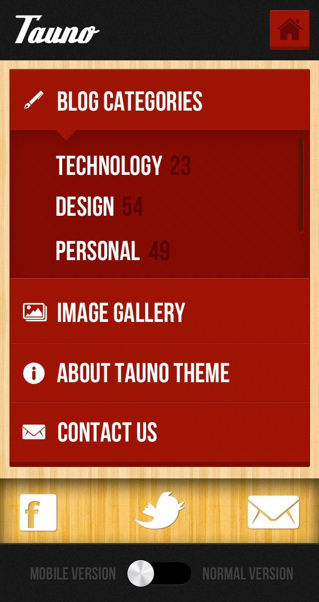 Tauno - A Mobile .PSD Theme - This page is designed just for the case that you want to use this as a menu-only page. It has the ability to show sub-menu items, and provides even easier touch targets. The user can also scroll through the submenu, using a sleek submenu slider.