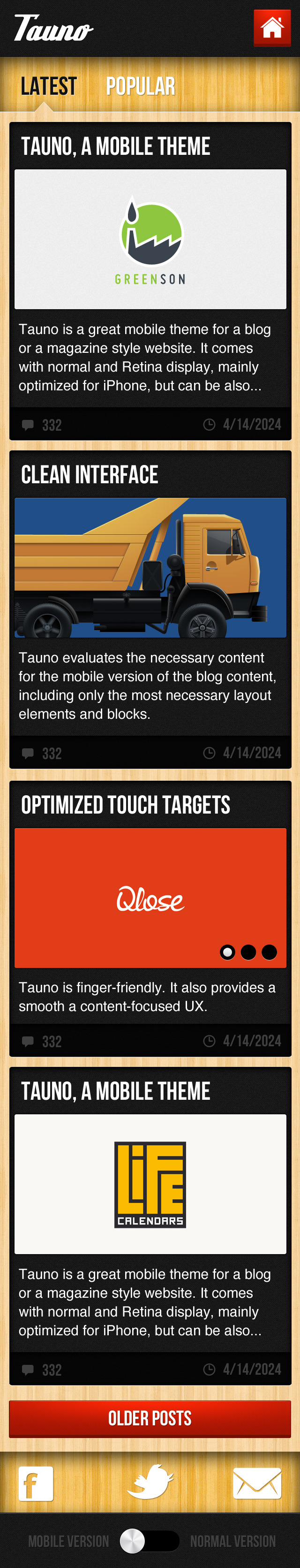 Tauno - A Mobile .PSD Theme - The category page, where it shows a stream of your posts. A shorting filter box at the top allows the user to short posts by relevance or popularity.