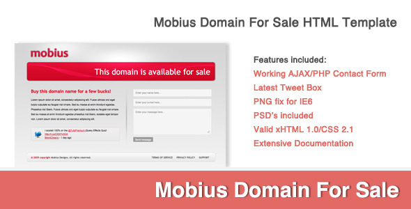 Mobius Domain For Sale xHTML/CSS