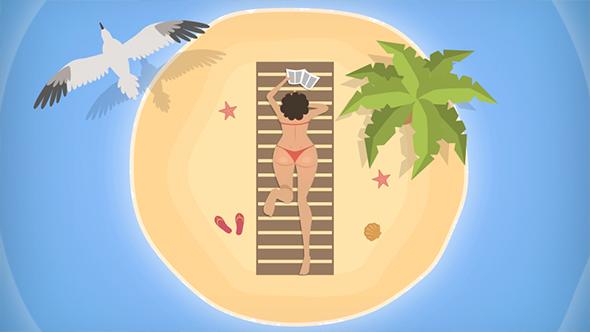 Ylhäältä tyttö Desert Island - Cartoons Taustat Motion Graphics