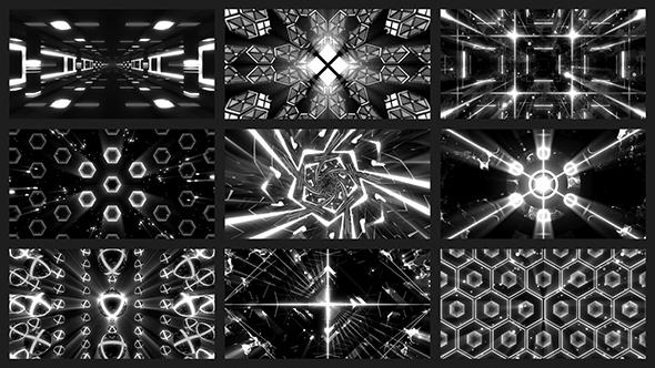 Musta-valkoinen VJ Loops Pack III - Abstract Taustat Motion Graphics