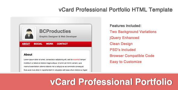 vCard Professional Portfolio Template