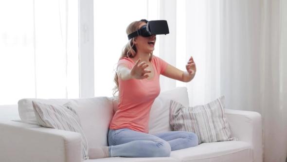 Nainen Virtual Reality Kuulokkeet Tai 3d lasit 23 - People Arkistofilmit