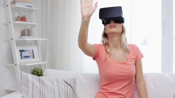 Nainen Virtual Reality Kuulokkeet Tai 3d lasit 10 - People Arkistofilmit