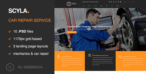 Scyla - Car Repair Service PSD template