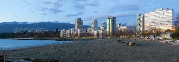 Waterfront Living along Sunset Beach in Vancouver BC - Stock Photo - Images