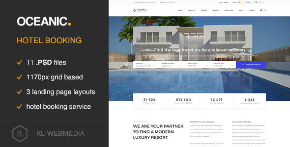 Oceanic - Hotel Booking PSD template