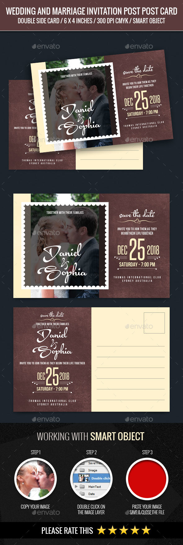 Wedding and Marriage Invitation Post Card