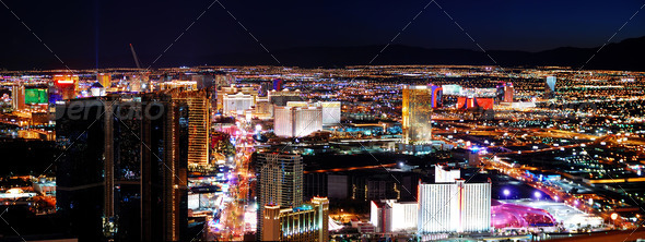 PhotoDune Las Vegas strip panorama at night 1624239