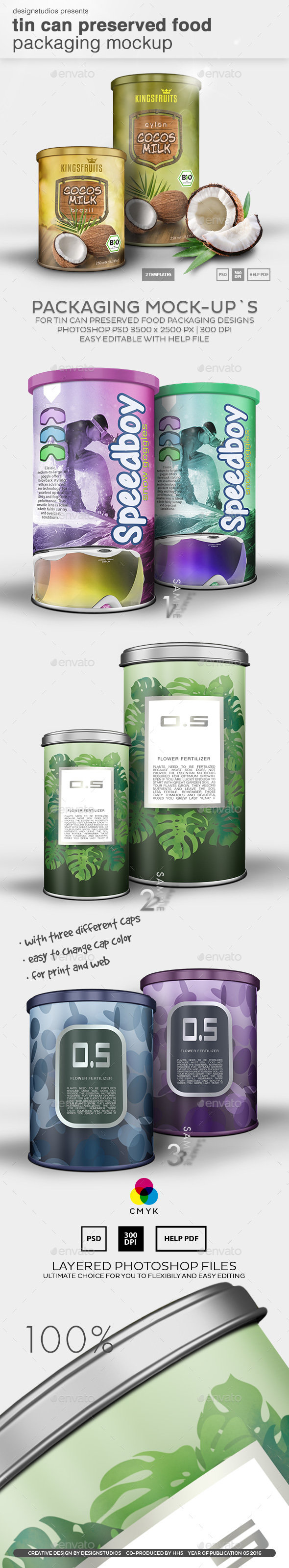 Tin Can Preserved Food Packaging Mock-Up