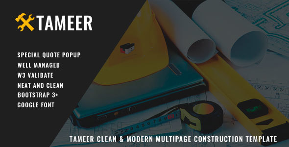 Tameer Clean & Modern Multipage Construction Template