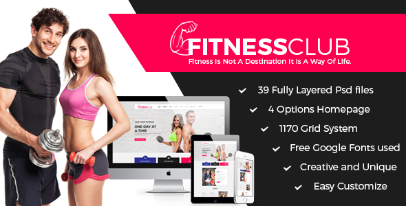 Fitness Club - Professional Fitness Services PSD