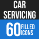 Car Servicing Blue & Black Icons