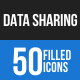 Data Sharing Blue & Black Icons